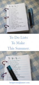 To do lists to make for this Summer