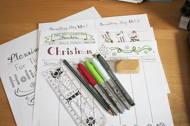 Planning for the Holidays bullet journal