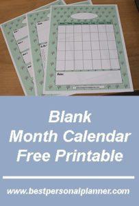 Free Printable Blank Month Calendar