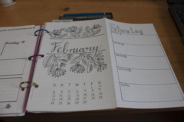 February Month Setup - Bullet Journal