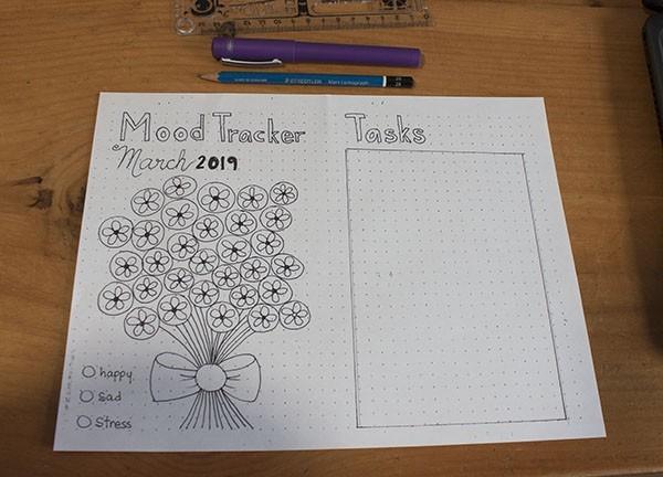bullet journal March mood tracker