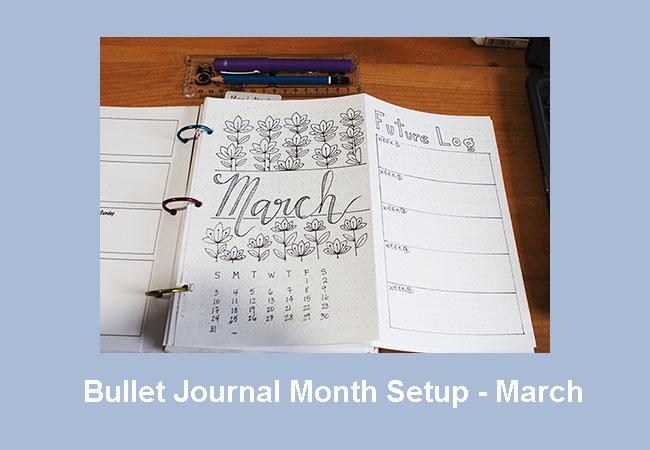 Bullet Journal Month Setup - March