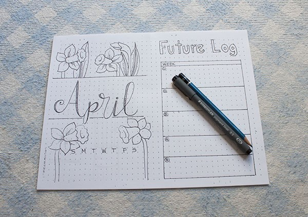 Bullet Journal Month Setup - April
