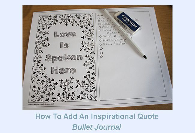 how to add an inspirational quote on bullet journal