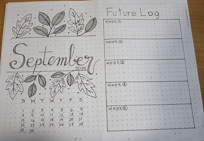 September Monthly Setup - Bullet Journal