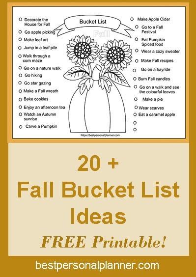 Fall bucket list FREE printable 2019